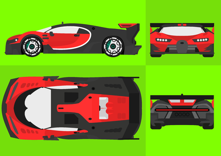 Sport Car with Red and Black color. Perfect for your Project.