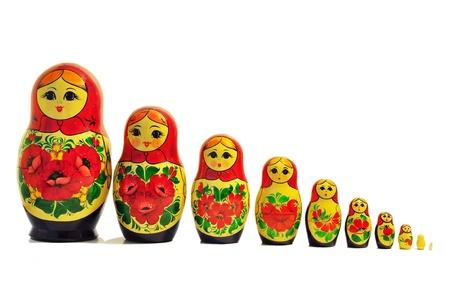 russian doll babushka single row  Stock Photo