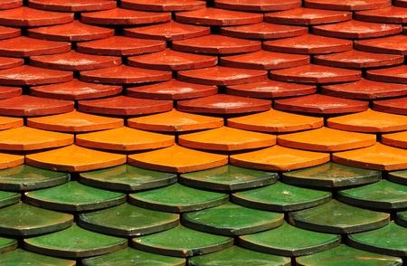 Thai Temple tile roof Stock Photo