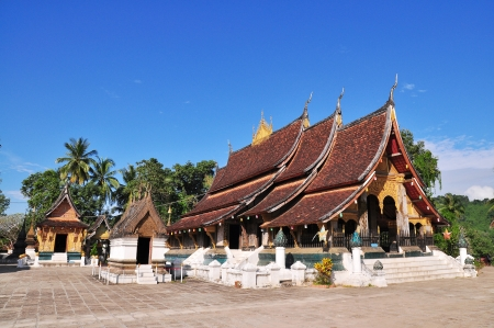 Wat chieng tongthe historical temple in Luang Pra Bang , Laos  Stock Photo