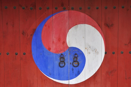 national cultures: art on korea temple door Stock Photo