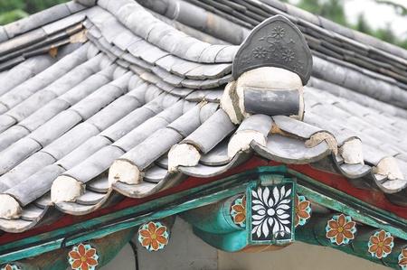 art on korea temple roof Stock Photo