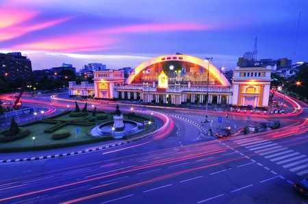 Railway station at Thailand in sunset time