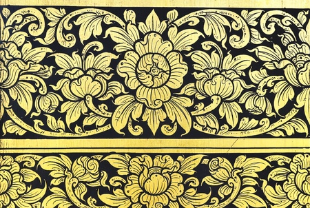 Traditional Beautiful Thai painting gold and black Editorial