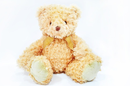 bear doll front view on white background Stock Photo