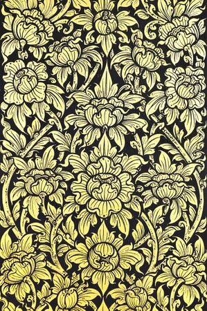 Traditional Thai painting style gold and black