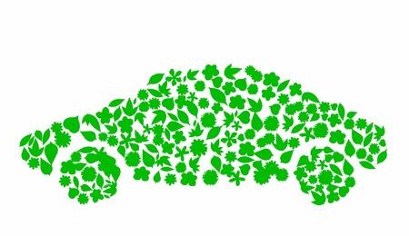 Icono flor de coche. Concepto de contaminaci�n. Go Green, el concepto de la ecolog�a, la alta resoluci�n