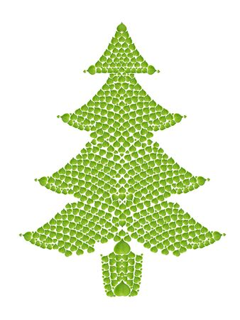 ecology concept with heart of green leaves in christmas tree, isolated on white background