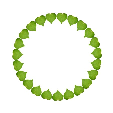 circle sign ecology concept with heart of green leaves, isolated on white background