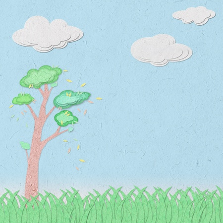 clear sky and grass recycled paper craft