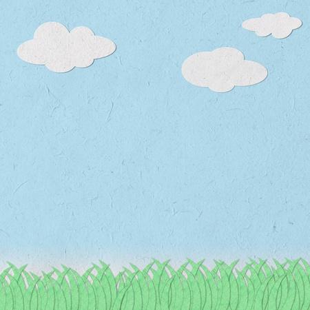 cielo despejado y la artesan�a de hierba papel reciclado