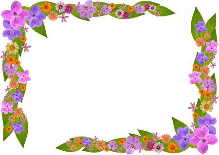 marco floral de flores hermosas, aisladas sobre fondo blanco