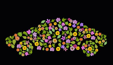 flower car Icon. Pollution Concept. Go Green, ecology concept, high resolution, create from real flower and leaf