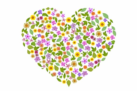 Heart from flowers separate on white background Picture, high resolution, create from real flower and leaf  Stock Photo