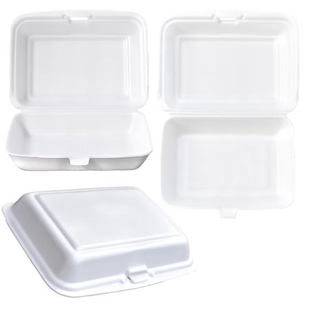 recipiente de comida conjunto aislado en blanco Foto de archivo