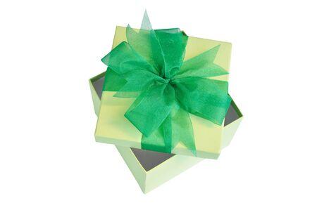 caja verde abierto azulejos con cinta grenn