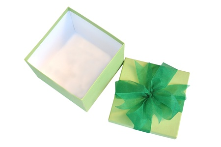 green box opened tiled with grenn ribbon  Stock Photo