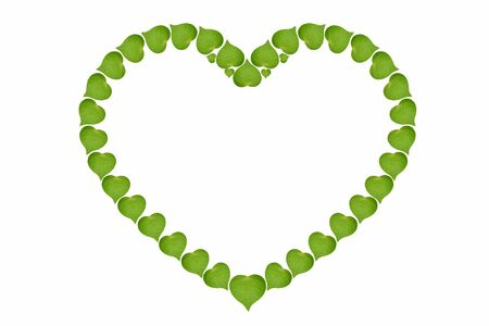 coraz�n de hojas verdes se�al de alta resoluci�n, el concepto de ecolog�a, aisladas sobre fondo blanco Foto de archivo