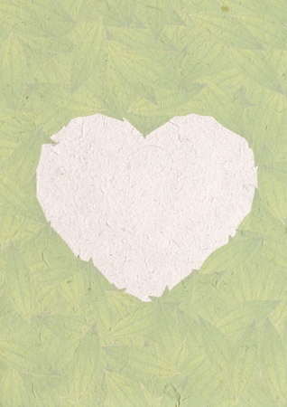 heart sign frame from green leaves on recycle paper, isolated, white background, create from real leaf, green concept, ecology concept  photo