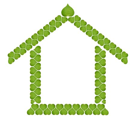 ecology concept house of green leaves sign with a yellow window ,isolated on white background