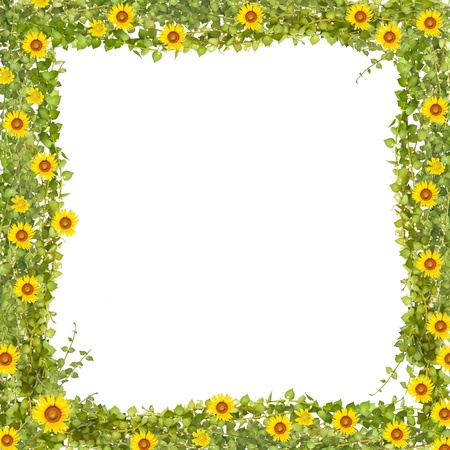 million heart tree frame with sunflower frame Stock Photo