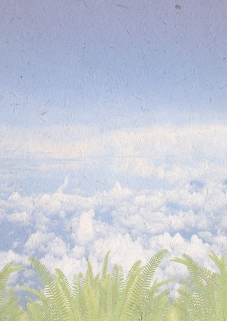 beautiful sky and fern background on recycle paper craft , ecology concept with on recycle paper