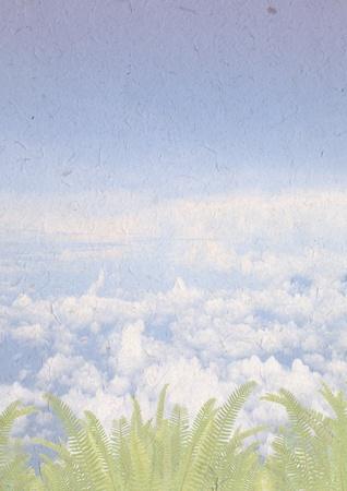 hermoso fondo de cielo y helecho de naves de papel reciclado, concepto de ecolog�a con el reciclaje de papel