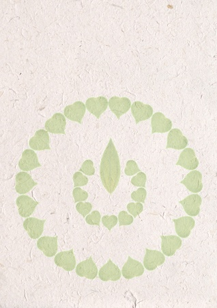 recycle paper craft, ecology concept with heart of green leaves in recycle sign on recycle paper  photo