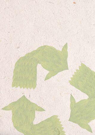 reciclar papel artesanal, concepto de ecolog�a con hojas verdes en se�al de reciclar reciclar papel