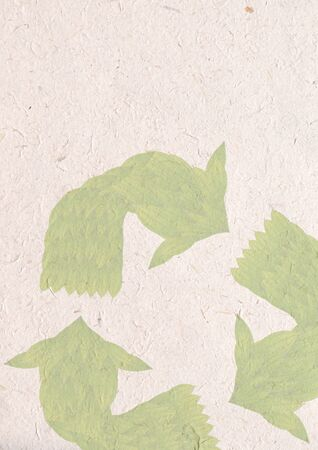 recycle paper craft, ecology concept with green leaves in recycle sign on recycle paper photo