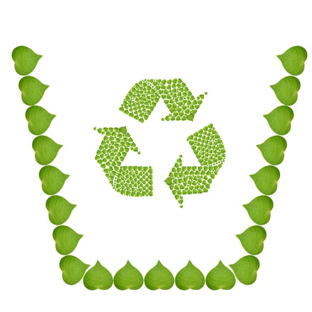 recycle bin by green heart leaf, ecology concept with heart of green leaves recycle bin, make from real green leaf Stock Photo