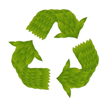 ecology concept with heart of green leaves in recycle sign, isolated on white background , make from real green leaf photo