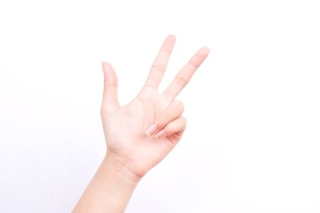 three fingers: finger hand symbols isolated concept three fingers salute congratulation on white background