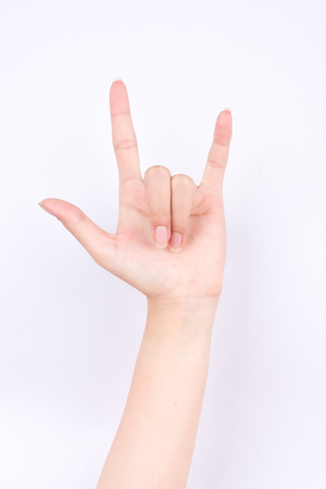 i love you sign: the finger hand symbols isolated concept I love you sign on white background