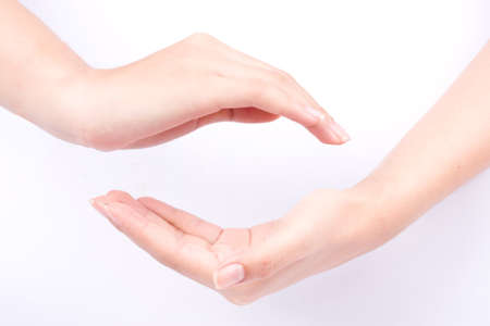 joining forces: finger hand symbols isolated concept join two cupped hands and may the force be with you on white background