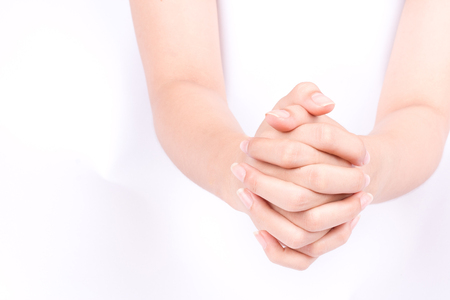 joining forces: finger hand symbols isolated concept join two cupped hands and May god bless you on white background