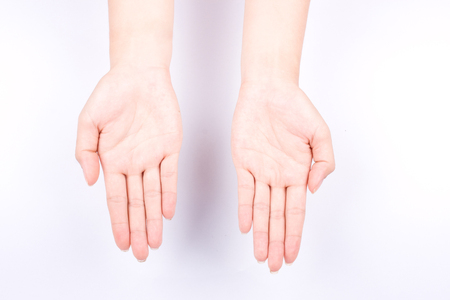 指手シンボル概念手上げの手のひらを開くし、に分離の白い背景をあなたの手を置く 写真素材 - 59923449