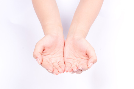 finger hand symbols isolated concept join two cupped hands and open hands hopefully on white background Stock Photo