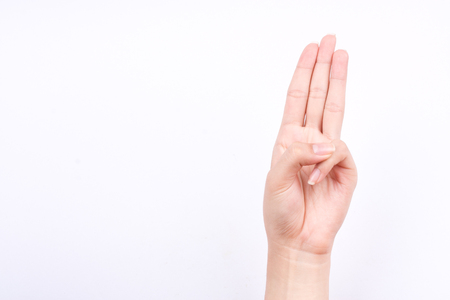 oath: finger hand symbols isolated concept three fingers pledge Scouts oath on white background