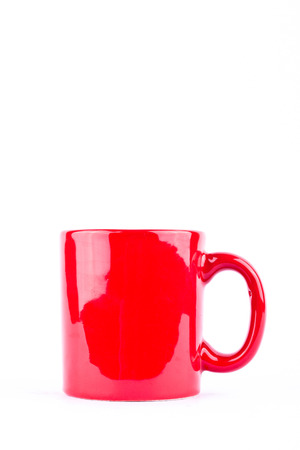 red coffee or tea cup or milk mug on white background drink isolated