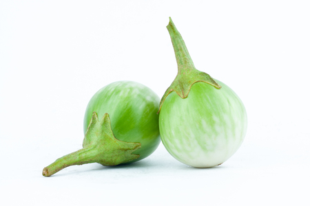 nightshade: thai eggplant or Yellow berried nightshade on white background thai eggplant  vegetable isolated