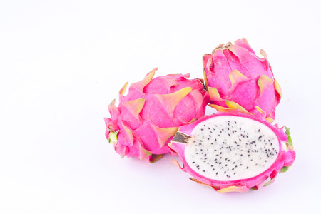 dragonfruit: fresh  raw organic dragon fruit (dragonfruit) or pitaya on white background healthy fruit food isolated Stock Photo
