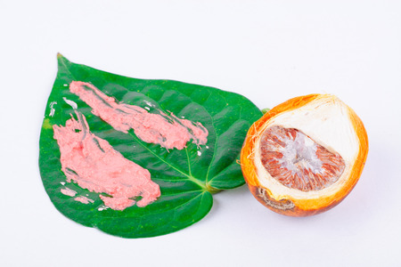 Chewing betel nut and betel and  red lime is the culture of the ASEAN on white background