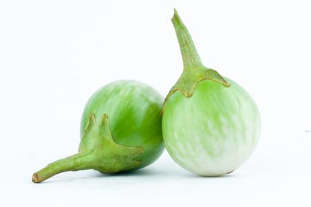 nightshade: fresh thai eggplant or Yellow berried nightshade on white background eggplant aubergine  vegetable isolated
