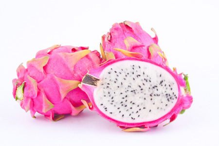 dragonfruit: dessert vivid and vibrant organic dragon fruit (dragonfruit) or pitaya on white background healthy dragon fruit food isolated