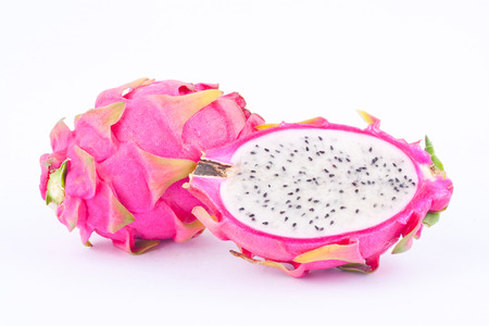dragonfruit: fresh   organic dragon fruit (dragonfruit) or pitaya on white background healthy dragonfruit food isolated
