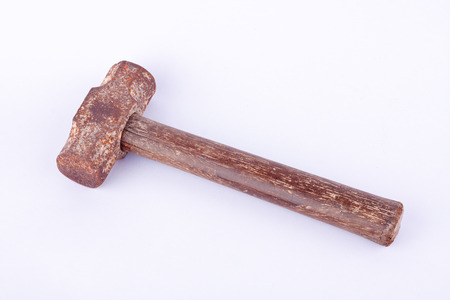 rusty nail: old  used rust Sledge hammer on white background tool isolated