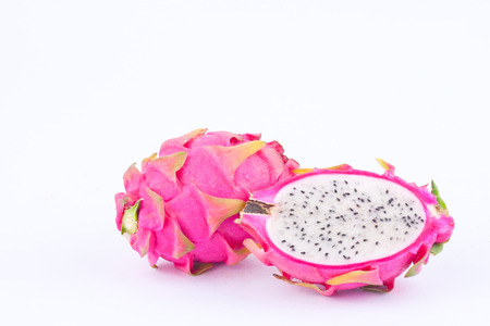 dragonfruit: organic dragon fruit (dragonfruit) or pitaya on white background healthy dragon fruit food isolated Stock Photo