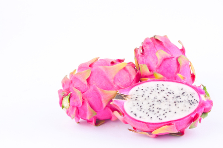 dragonfruit: dragon fruit (dragonfruit) or pitaya on white background healthy dragonfruit organic  food isolated Stock Photo