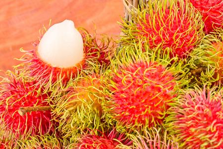 red rambutan sweet delicious on  background healthy rambutan tropical fruit food isolated